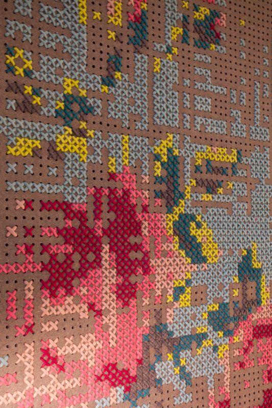 cross stitch on peg board