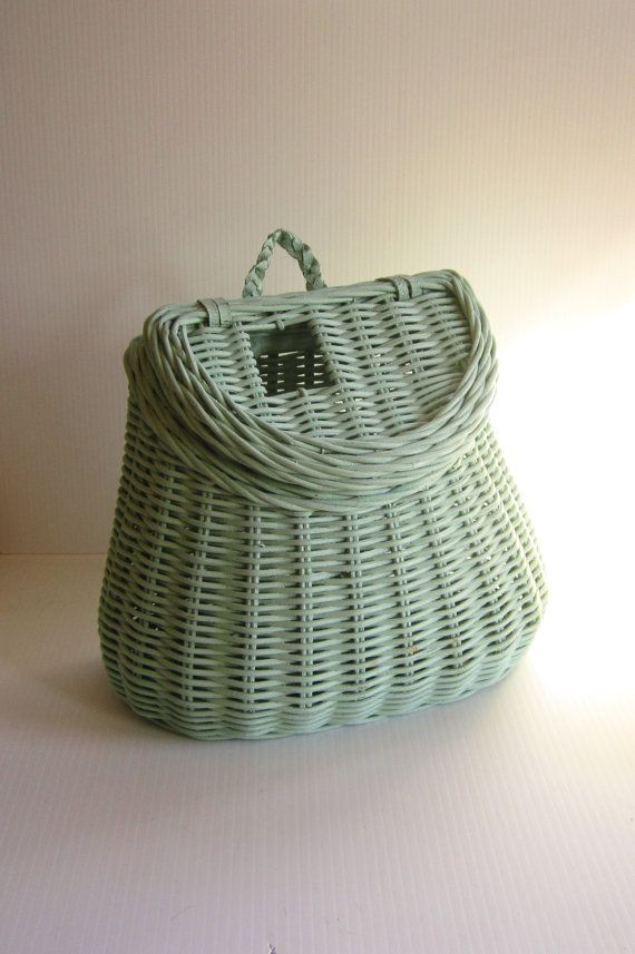Wicker Fishing Basket Jadeite Décor by CrapolaAficionado on Etsy