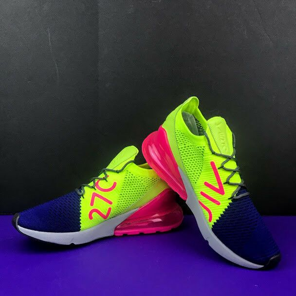 best website 243bd 11618 Nike Air Max 270 Flyknit Running Shoes Men s Size 9.5 Blue Pink Green  A01023-501   eBay