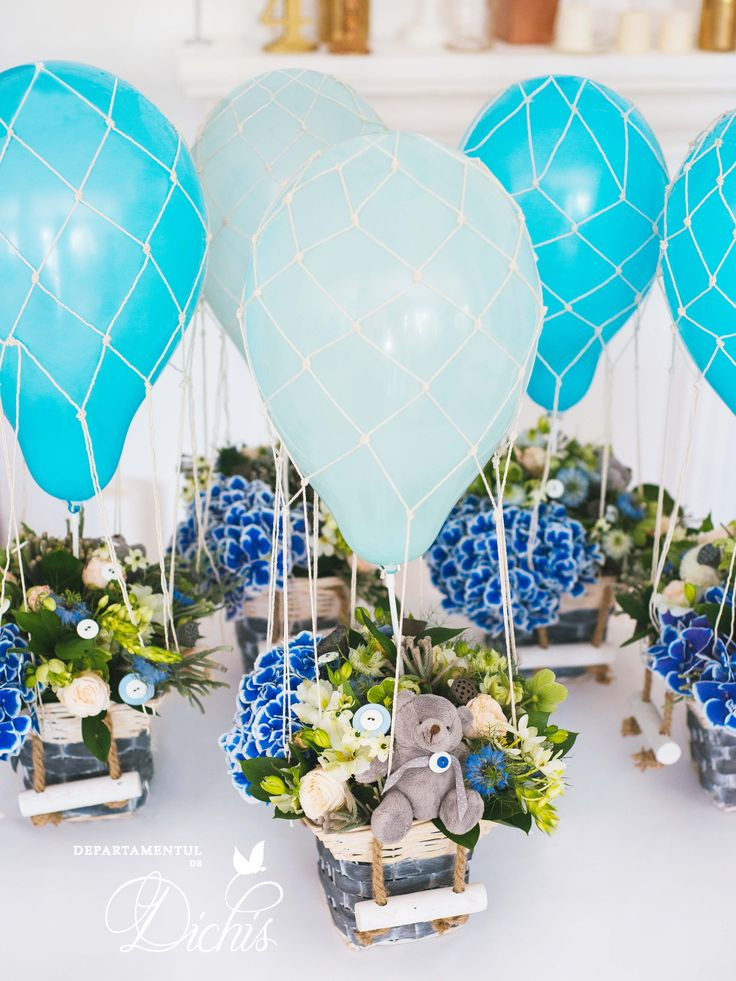 Hot Air Balloon theme for table centerpieces at a Baptism in May