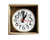 Spartus Gala Kitchen Clock Electric Vintage Wall Clock Black & White Plastic New Old Stock