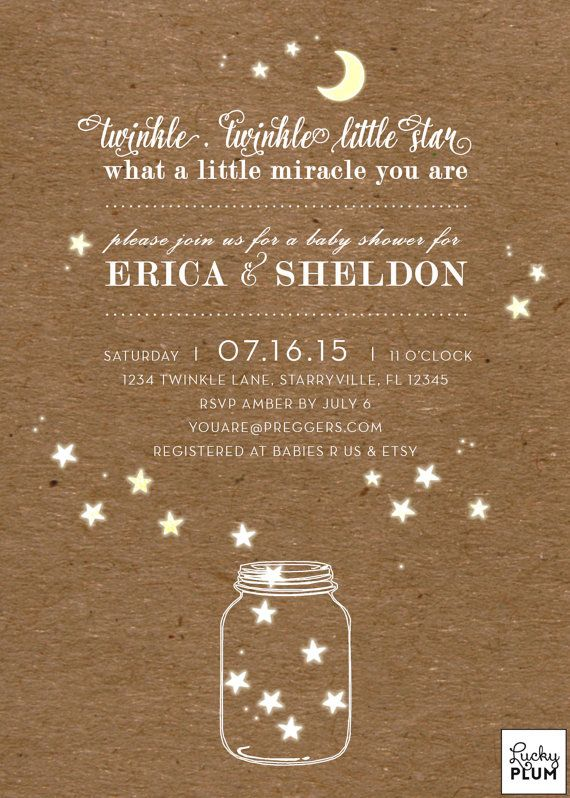 Twinkle Star Baby Shower Invitation / Moon Star by LuckyPlumStudio
