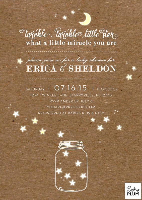 Twinkle Star Baby Shower Invitation / Moon Star by LuckyPlumStudio
