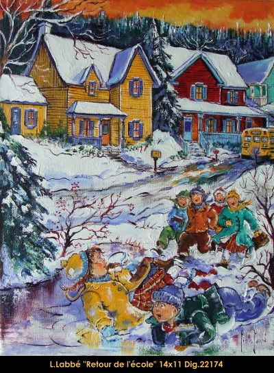Original oil on canvas painting by Lise Labbé  #labbe #artnaif #kidscharacters #winter #returning #school #canadianartist #quebecartist #originalpainting #balcondart #multiartltee