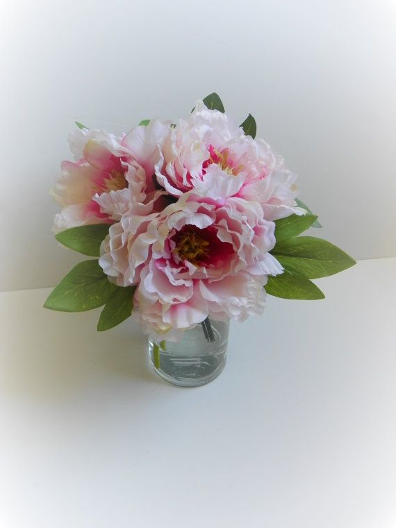 faux silk flower arrangement peonies by russellpricefloral on etsy 5200 - Common Flowers In Arrangements
