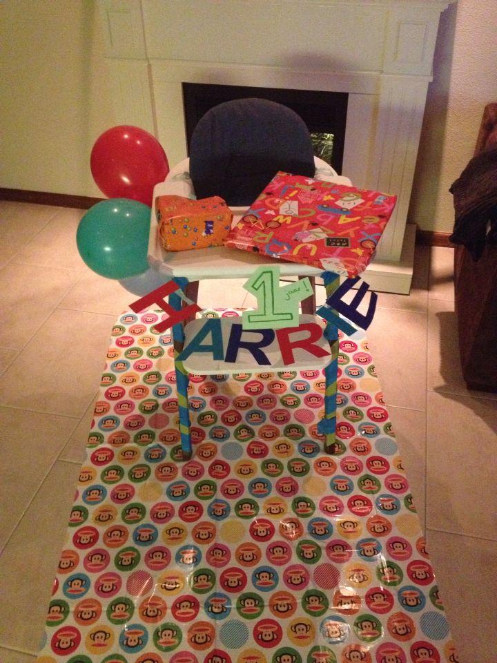 Verjaardag stoel versierd - birthday chair