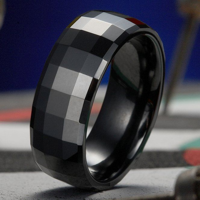Unique Mens Black Ceramic Ring High Polish Wedding Band 8mm   RnBJewellery167 best RINGS images on Pinterest   Rings  Jewelry and Men rings. Cool Mens Wedding Rings. Home Design Ideas