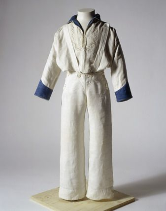 Boy's Sailor suit made for Seymour Tremenhere (1848-1941) by the ship's tailor on board 'The Earl Balcarras' on a voyage from Bombay to Gravesend in 1855.