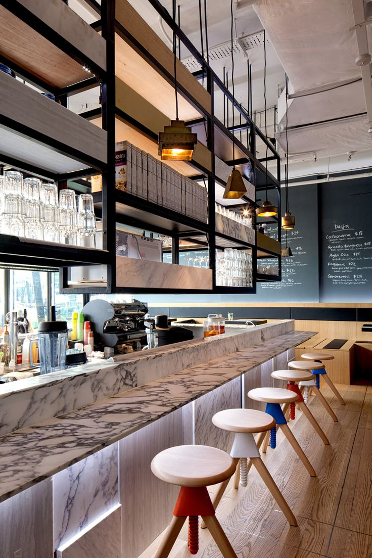 Suspended shelves | Singapore Café Chain Arrives on Sentosa | We Heart; Lifestyle & Design Magazine