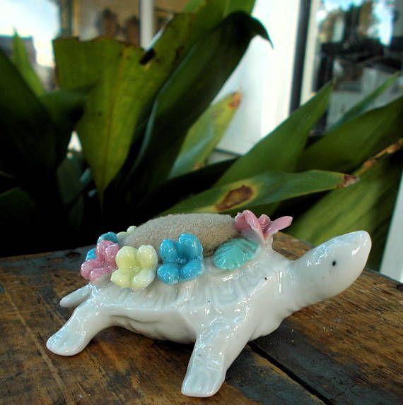 Capodimonte Porcelain Turtle Pincushion / White Turtle Pink
