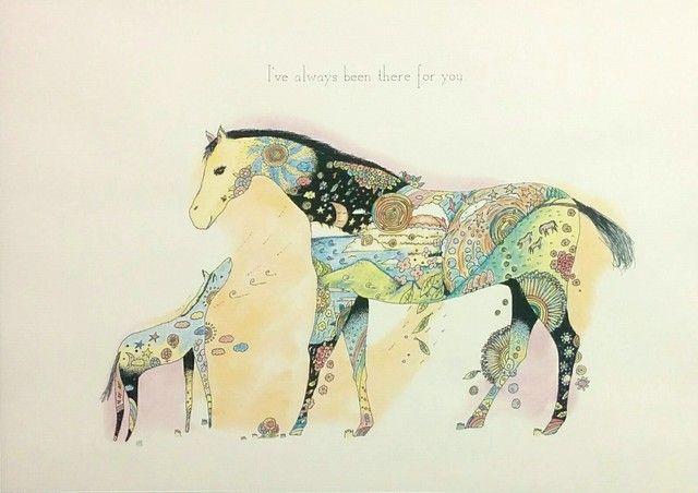 Horse/馬 アートポスター オリジナルイラスト インテリア A4/B4