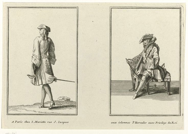 Twee mannen gekleed volgens de Franse mode  ca. 1695, Jean Mariette, Anonymous, , 1670 - 1742