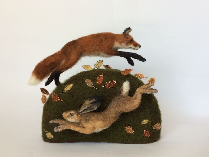 Needle Felted Fox and Hare sculpture.
