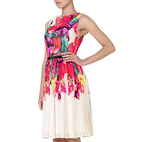 Buy Adrianna Papell Floral Pleated Dress, Multicoloured Online at johnlewis.com