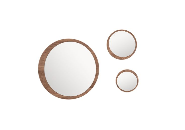 #Luna mirrors from wewood in solid walnut with three different sized.