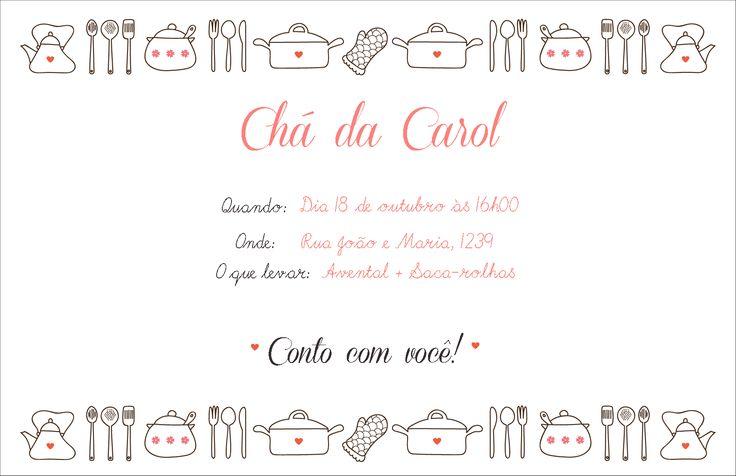 Convite para chá de cozinha (prontos para imprimir)
