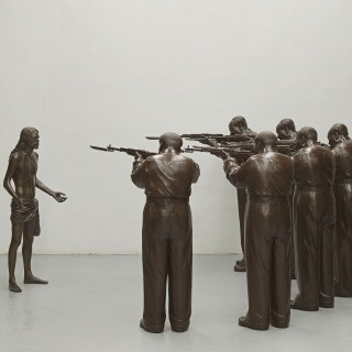 Death' is centered around the Gao Brother's seminal work, 'The Execution of Christ.' A grandiose, life size, bronze sculpture, the piece is an appropriation of Manet's 'The Execution of Emperor Maximilian'. In true political pop fashion, the firing squad are re-made as eight life size Chairman Maos, and the figure of the emperor is replaced with a portrayal of Jesus.