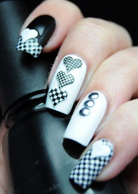 B & W with heart studs from KK Center - they have curve to them to lay on the nail better.