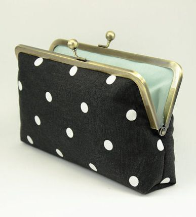 Polka Dot Clutch / Black & Ivory Clutch