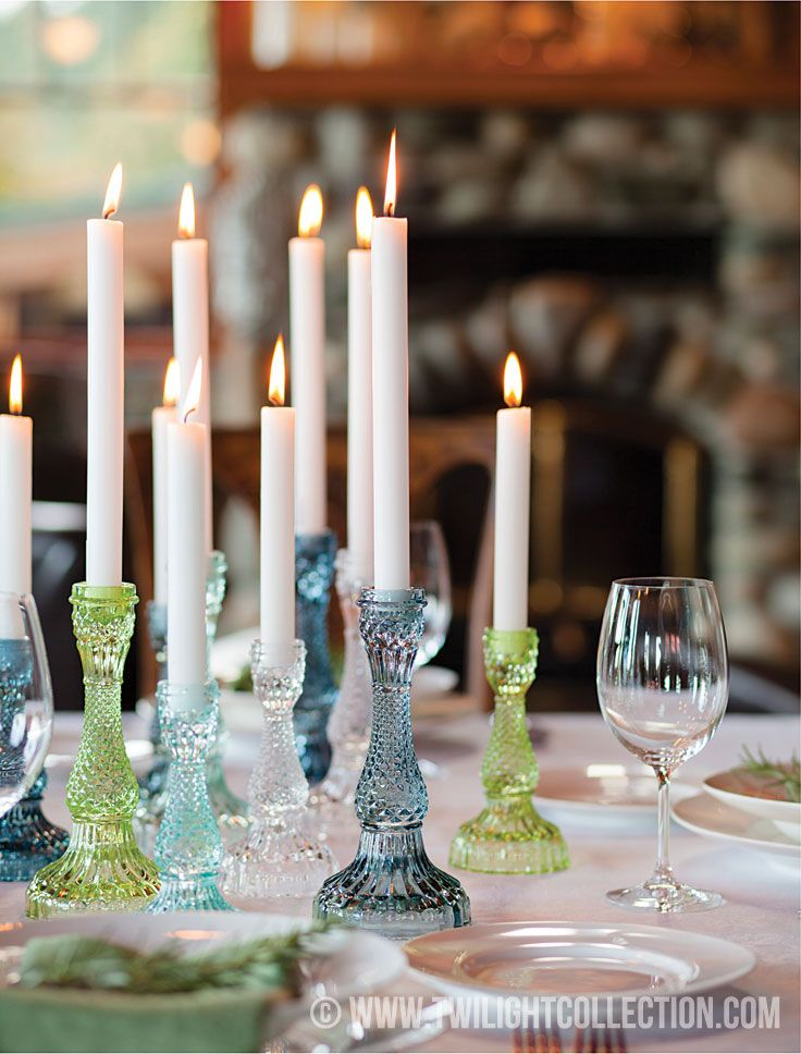 Bella Candle Holders - vintage candle sticks shown here in Lime / Petrol / Aquamarine + Sky Blue