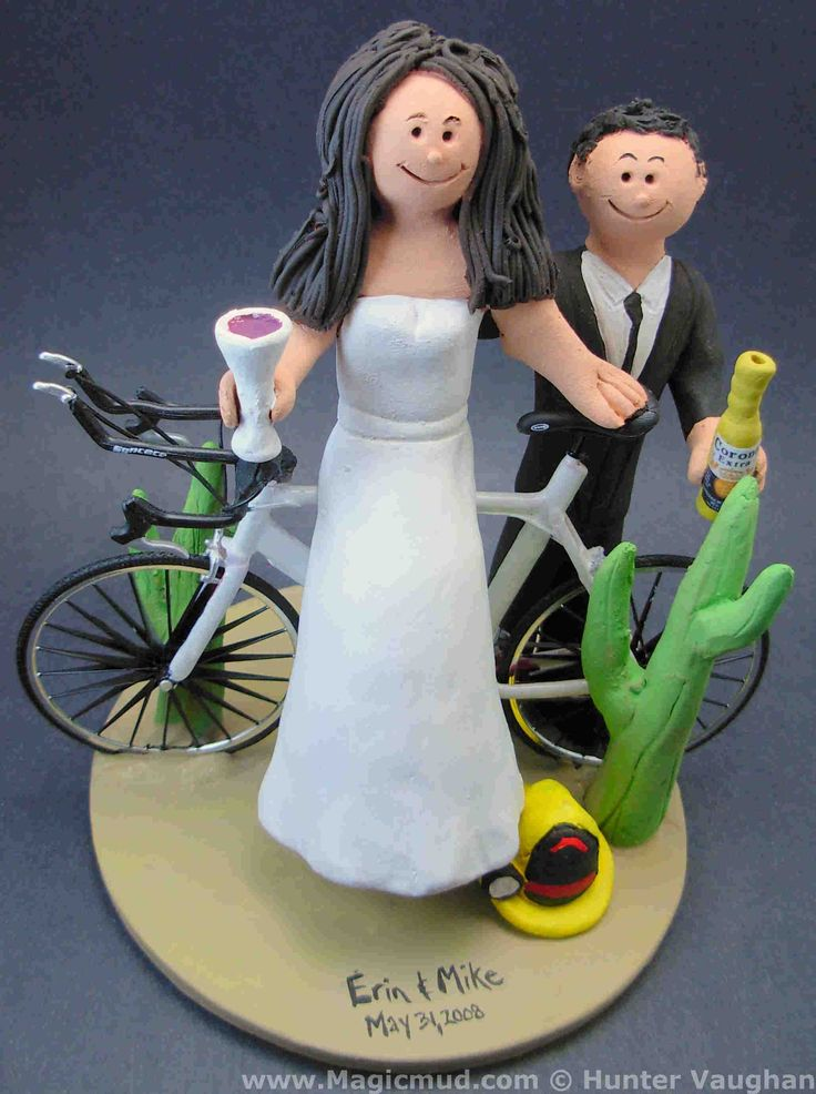 Bicycle Racer's Wedding Cake Topper by http://www.magicmud.com   1 800 231 9814  magicmud@magicmud.com  http://blog.magicmud.com  https://twitter.com/caketoppers         https://www.facebook.com/PersonalizedWeddingCakeToppers  #bicycle#bike#cyclist#mountain_bike#wedding #cake #toppers  #custom #personalized #Groom #bride #anniversary #birthday#weddingcaketoppers#cake toppers#figurine#gift#wedding cake toppers