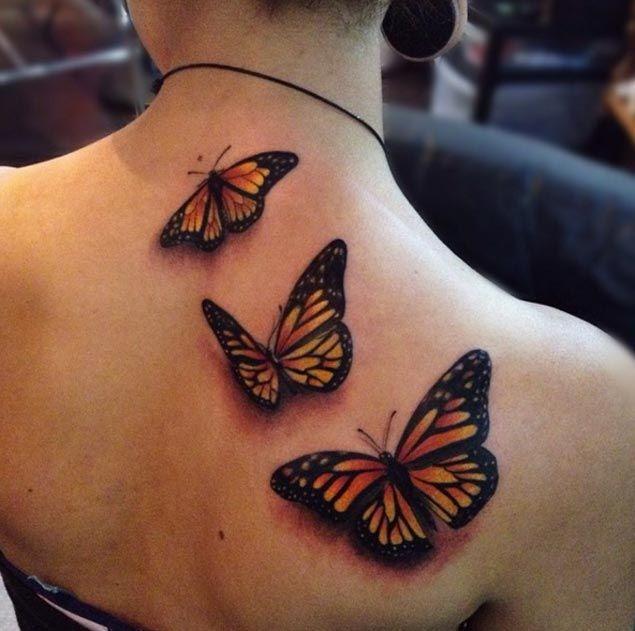 Butterfly Tattoos on Back by Alex Bruz