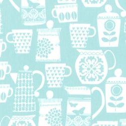 Michael Miller - Put a lid on it, Aqua - Warp & Weft   Exquisite Textiles