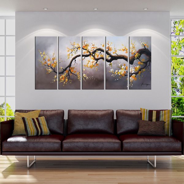 Hand-painted 'Plum Blossom 315' 5-piece Gallery-wrapped Canvas Art Set - Overstock™ Shopping - Top Rated Otis Designs Canvas