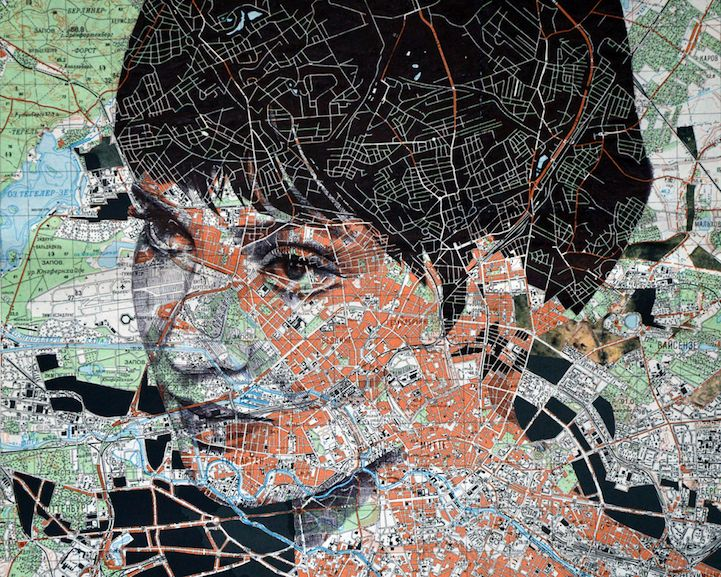 """Paper maps aren't as common as they used to be, since the advent of various apps andGPS systems we find ourselves relying on more and more during our travels. While this may be the case, artist Ed Fairburn appreciates the craft of cartography and is working to repurpose physical maps as he expands his portfolio. Fairburn combines landscapes with the human figure by expressively exercising his eye for detail and appreciation for natural beauty. """"The idea of harmonizing a portrait with a map…"""