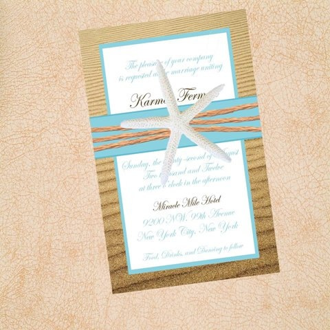 Beach Wedding Invitations - Starfish Blue Sand--- love love love- may use this for vow renewal one day