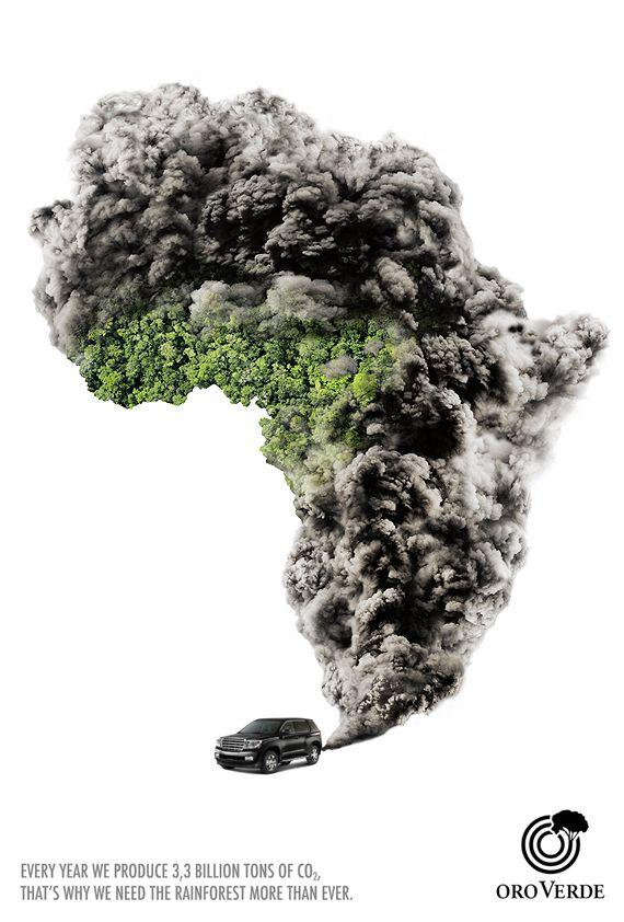 La campaña de oro verde, con esta imagen nos quiere hacer ver la cantidad de CO2 que producimos cada año mediante el humo del combustible que desprenden los vehículos. Nos hace reflexionar sobre la importancia de los bosques y lo perjudicial que es el CO2 para el medio ambiente.  Se refleja este mensaje mediante una ráfaga de humo gris producida por un coche que invade el medio ambiente.