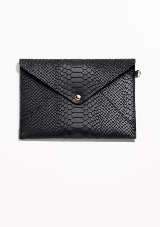 & Other Stories image 1 of Leather A5 Envelope Purse in Black