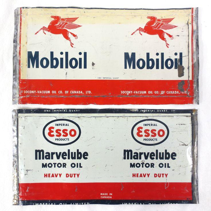 Vintage Mobiloil Pegasus and Esso Marvelube Heavy Duty Motor Oil Cans 1 Quart
