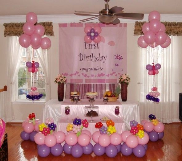 Decoration Pink Balloon Side White Curtain Closed Glass Window For Cha Birthday Decorations At Home First Birthday Decorations 1st Birthday Party Decorations