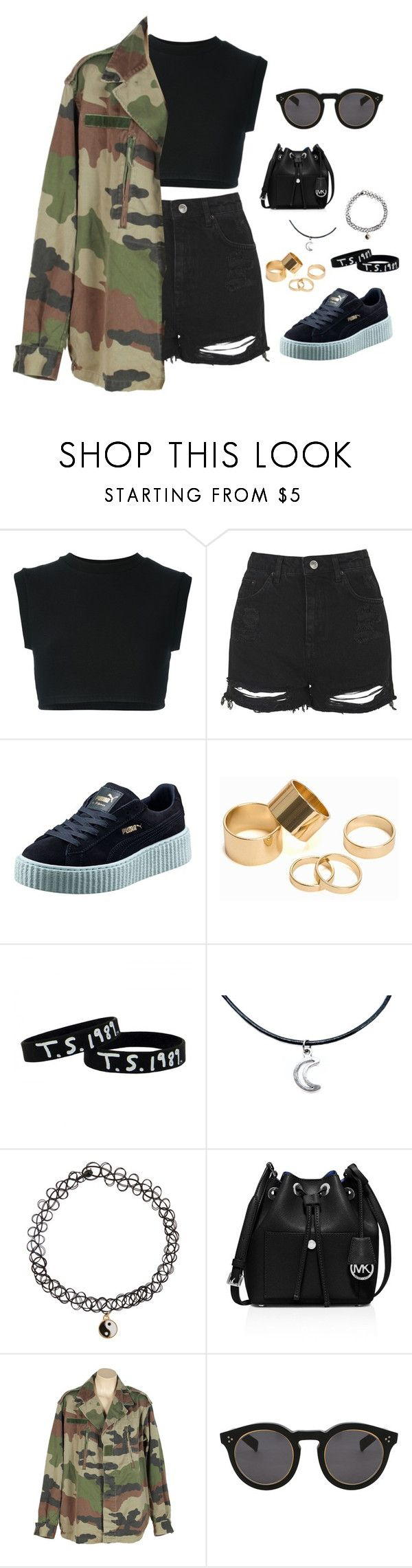 """Midnight Stroll"" by thatweirdoakira on Polyvore featuring adidas Originals, Topshop, Puma, Pieces, Accessorize, MICHAEL Michael Kors and Illesteva"