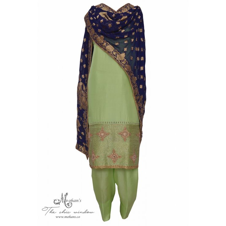 Regal pear green suit adorn in rich handwork complemented with benarasi dupatta-Mohan's the chic window