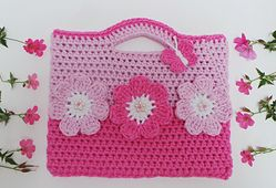 Ravelry: Sweet Flower Crochet Bag pattern by Kerry Jayne Designs with Flowers and Butterfly
