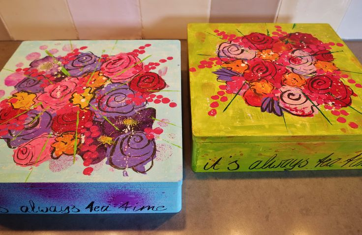 handpainted tea boxes