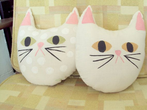 TUFT hand painted cream canvas cat pillow by Jessicaleighjones, $15.00 Lorelei would love these!