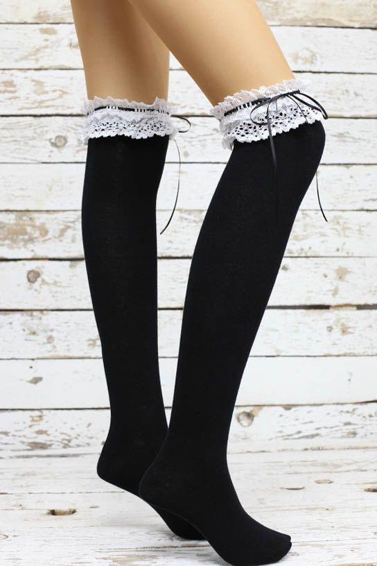 Knee high socks- socks women knee Socks -socks -- knee high socks legwarmers socks Black lace top ribbon sweet gothic lolita socks thigh high socks