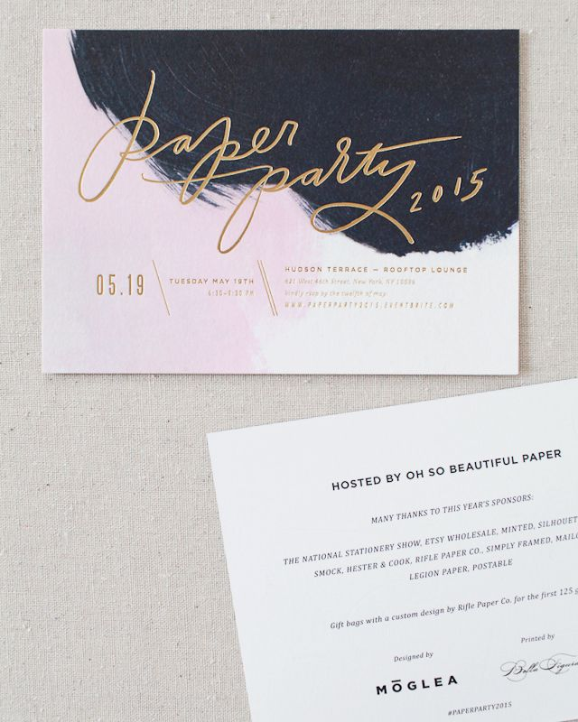 Paper Party 2015 Invitations with Hand Lettering and Painted Background by Moglea and Matte Gold Foil by Bella Figura / Oh So Beautiful Paper