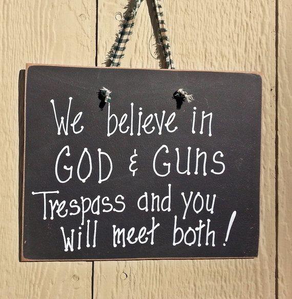 Gun rights sign 2nd amendment God and Guns no by kpdreams on Etsy