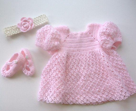 Menina recém-nascida Outfit, Rosa Bebê Outfit, Crochet bebê Outfit, Vestido Baby, Baby Headband, Sapatinho de bebê, rosa Crochet Vestido, rosa, Soft