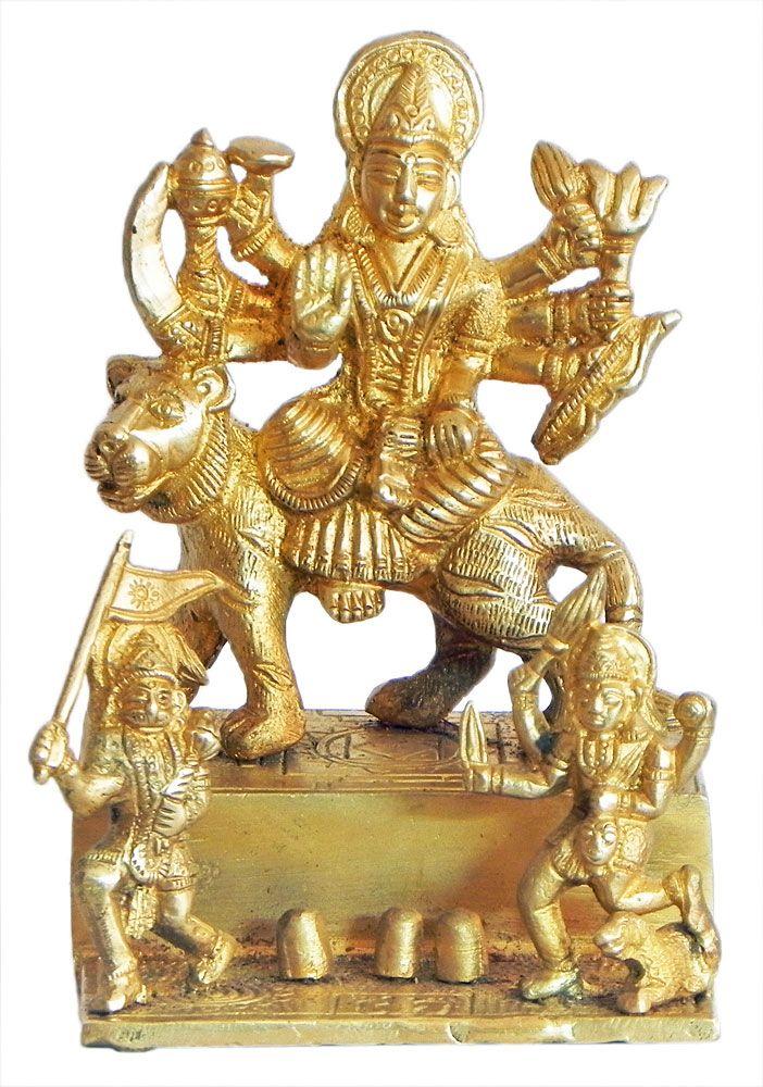 Vaishno Devi with Hanuman and Bhairav (Brass)
