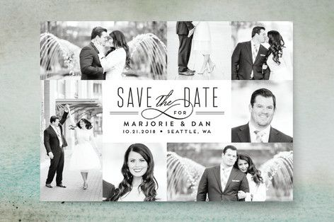 """""""Thinline Gallery"""" - Classical, Formal Save The Date Cards in Midnight by Alethea and Ruth."""