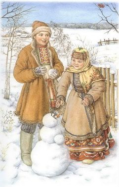 Illustration from postcard 'Russian Traditions in Costume' - (Russian traditional winter clothes from Smolensk Province)