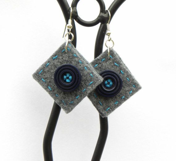 Button square earrings 6 felt hand-sewn earrings by MarudaFelting