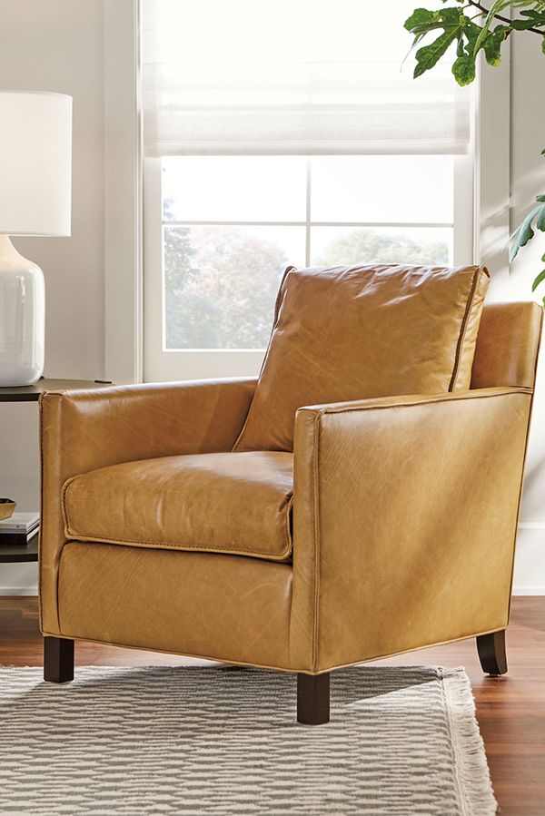 Bram Leather Chairs Ottoman Modern Accent Lounge Chairs