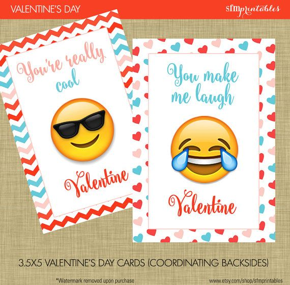 Instant Download! Emoji Valentine's Day Cards - Kids School Valentines Smiley Kissey Face Heart Face Emoji - Chevron, Hearts and XO - Modern by sfmprintables