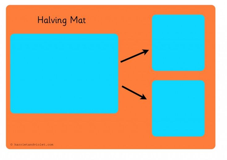 A simple coloured halving mat to use in an EYFS or Year 1 classroom.It can be printed and laminated so the children can take a group of objects and share t